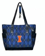 NEW r25 Illinois Fighting Illini NCAA TOTE Argyle Hand Bag Purse college golf IL
