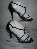 REDHERRING WOMENS  BLACK SATIN HIGH HEEL ANKLE STRAP SHOES SIZE:6/39(WHS143)