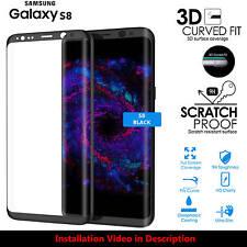 Ecran complet couverture protection d'écran verre trempé pour samsung galaxy S8 noir