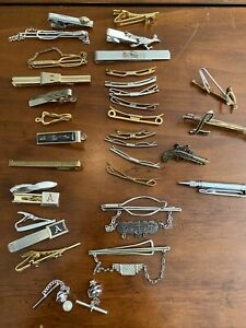 Lot of 33 Vintage Men's Gold & Silver Tone Tie Clips and Tacks