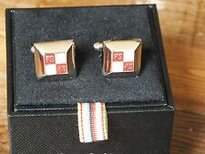 PAUL SMITH Red & Cream Bevelled Square Cufflinks, Excellent Condition, Boxed