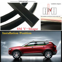 Universal 8M V-Shape Black Rubber Seal Strip Car Window Slot Trim Weatherstrip