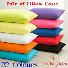 LUXURY HIGH QUALITY POLY COTTON PLAIN DYED PAIR OF PILLOW CASES 18 COLOURS