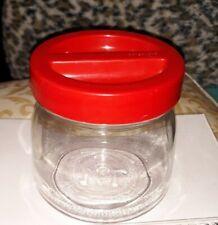 ~Vintage/Estate~Borgonovo Italy~Red Lid Glass Storage Jar~