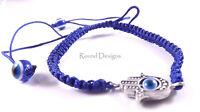 Hamsa Blue Silver Bracelet Evil Eye Charm Kabbalah Hand Of Fatima Judaica Chamsa