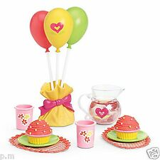 American Girl Bitty Baby Birthday Party Set Twins Cupcakes PitcherBalloons + NEW
