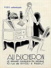 PUBLICITE AU BUCHERON  SECRETAIRE SIGNE RENE VINCENT DE 1927 FRENCH AD ART DECO