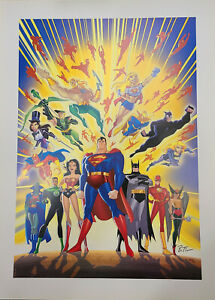 Guardians of Justice LE Lithograph Signed by Bruce Timm-Batman,Superman,ETC.