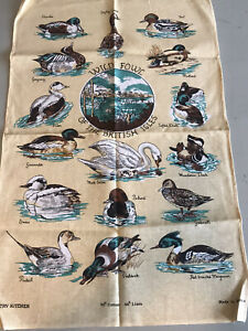 Vintage Country Kitchen Wild Fowl Of The British Isles Tea Towel 74x48cm New