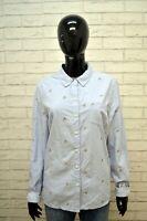 Camicia TOMMY HILFIGER Blusa Donna L Manica Lunga Cotone Shirt Celeste Hemd