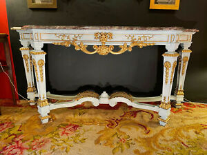 19th Century French Louis XIV Style Painted and Parcel Gilt Console Table