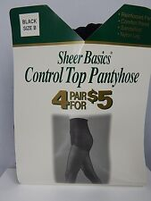 New Wave USA 4 Sheer Basics Black Control Top Sandalfoot PantyHose Nylons Goth