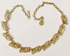 collier bijou vintage couleur or signé CORO feuille perle déco rosé * 3666