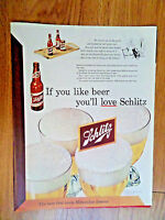1952 Schlitz Beer Ad Moved out on the Porch & hashed the Ball game Over