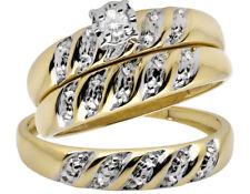 10K Yellow Gold Trio Miracle Set Swirl Diamond Engagement Wedding Ring Set .10ct