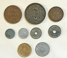 JAPAN:- 9 different late 19th early 20th century circulation coins. JP244