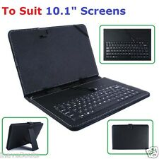 "Quality Leather Cover Carry Case Stand Built-in Keyboard 10.1"" Android Tablet PC"