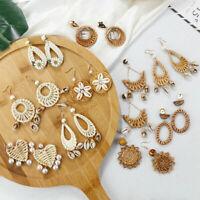 Fashion Women's Handmade Wood Bamboo Rattan Shell Pendant Dangle Drop Earrings
