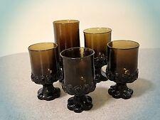 5 Heavy Vintage FRANCISCAN Wine/Juice Glasses MADEIRA-SMOKE Brown Stemmed Gothic
