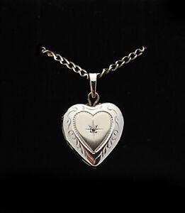 14k Solid White Gold Diamond Heart Locket