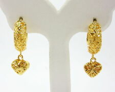 Lever-back Hoops Drop Heart 24K Thai Baht Yellow Gold GP Earrings Thai Jewelry