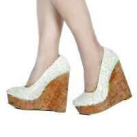 Women Wedge High Heels Round Toe Lace Pumps Party Wedding Sandals Platform Shoes