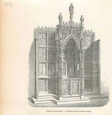 Abdij van/Abbaye d'Averbode Abbey Confessionnal GRAVURE ANTIQUE OLD PRINT 1880