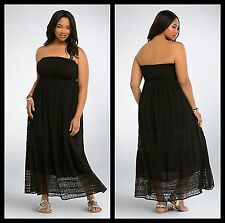 Torrid Women's Plus Size 0 0X Large Black Gauze Crochet Tube Dress Maxi (33-24)