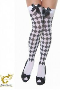 Girls Ladies White and Black Diamante Stockings With Bow Fancy Dress Accessory