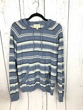 Lucky Brand Women's Striped Blue Yellow Pullover Hoodie Jacket SOFT Size Large