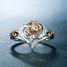 Rose Rings for Women Two Tone 925 Silver Jewelry White Sapphire Ring Size 10