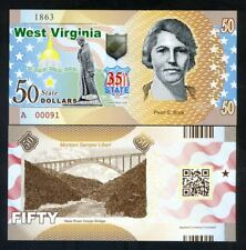 Usa States, West Virginia, $50, Polymer, Nd (2018), Unc - Pearl S. Buck