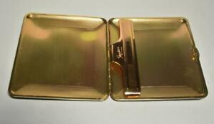VTG Stratton Black Leather covered Gold Color metal cigarette case Made England