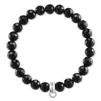 Genuine Thomas Sabo Charm Club Black Obsidian Stretch Bracelet CX0220
