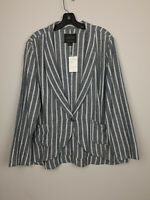Sanctuary Blue Striped Linen Blend Button Blazer $139  Size XL NWT