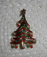 Vintage Glass Dangle Ball Bead Enamel Christmas Tree Brooch Pin Gold-tone   C29