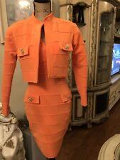 Women Sexy Night/Party Orange Bodycon Dress With Cropped Jacket. 2 Piece Set