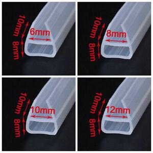 1/2M U Bath Shower Screen Door Window Seal Strip Gap Curved Flat Rubber 6mm~12mm
