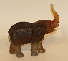 Daum France Art Glass Pate de Verre Figurine Amber Elephant Trunk Up 03238-1