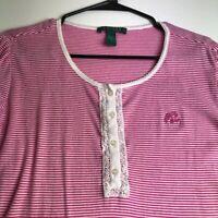 Lauren Ralph Lauren Women's Long Sleeve Blouse Top Large L Pink White Stripes