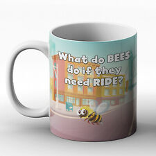What do bees do if they need a ride? Bee joke - Printed Mug