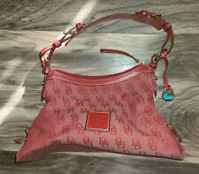 Dooney Bourke Red Signature Canvas Leather Trim Hobo hand Bag purse