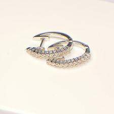 Diamant Creolen 0,19 ct in 750er Weissgold 18 Karat Pavé Ohrringe Karat Brillant