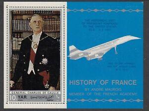YEMEN 1970 HISTORY OF FRANCE CHARLES DE GAULLE CONCORDE MINIATURE SHEET MNH