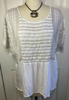 J Jill Womens White Embroidered with Beige Scoop-Neck Short Sleeve Top Blouse XL