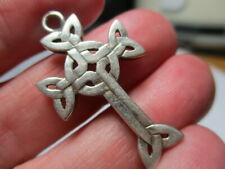 Cross 1.25 Inch Pendant Or Charm Sterling Silver 925 Estate Vintage Celtic Knot