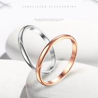 2mm dünner stapelbarer Ring Edelstahl Plain Band für Frauen Mädchen Größe 3-10