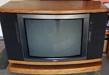 Sony Vintage Rare1980's Trinitron Television Crt Tv Console Solid Oak Wood.