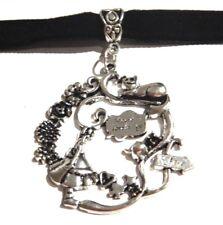 silver necklace collar in Wonderland W3 Alice & Cheshire Cat Choker black velvet