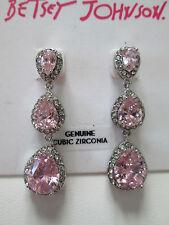 NWT Auth Betsey Johnson Pink Rhinestone Teardrop Linear Dangle Drop Earrings